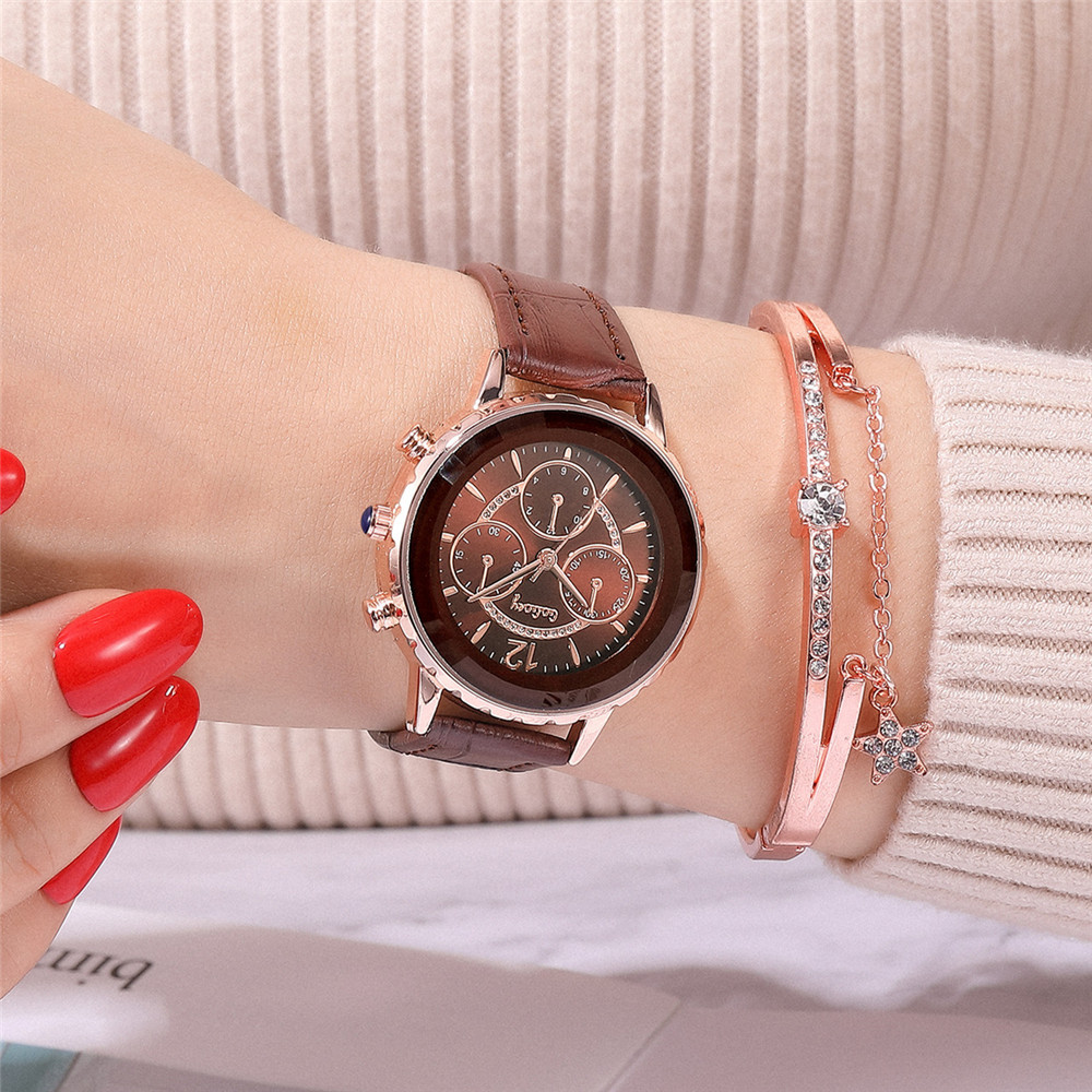 New fashion ladies watch trend diamond-set three-eye quartz belt watch Korean student hand watch NHSS222682