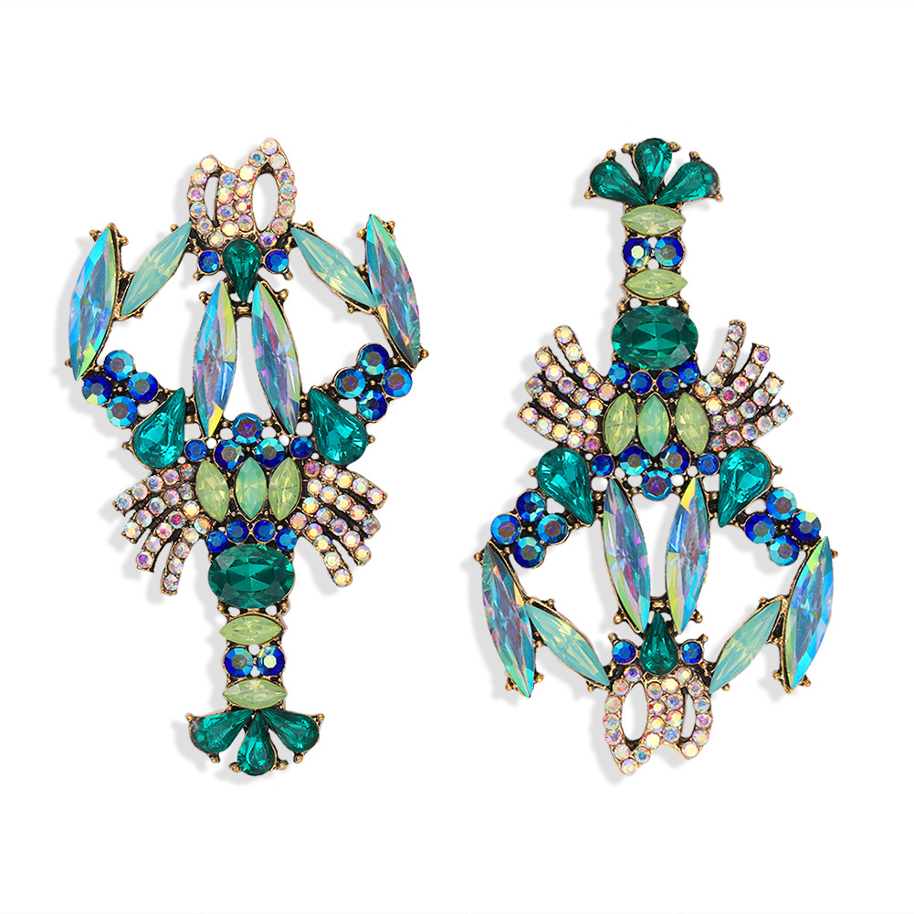 fashion exaggerated personality color diamond crayfish earrings niche design fashion cute fashion earrings wholesale nihaojewelry  NHJQ218873