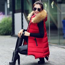 大毛领女式棉马甲中长款韩版修身大码羽绒棉服外套棉衣冬一件代发