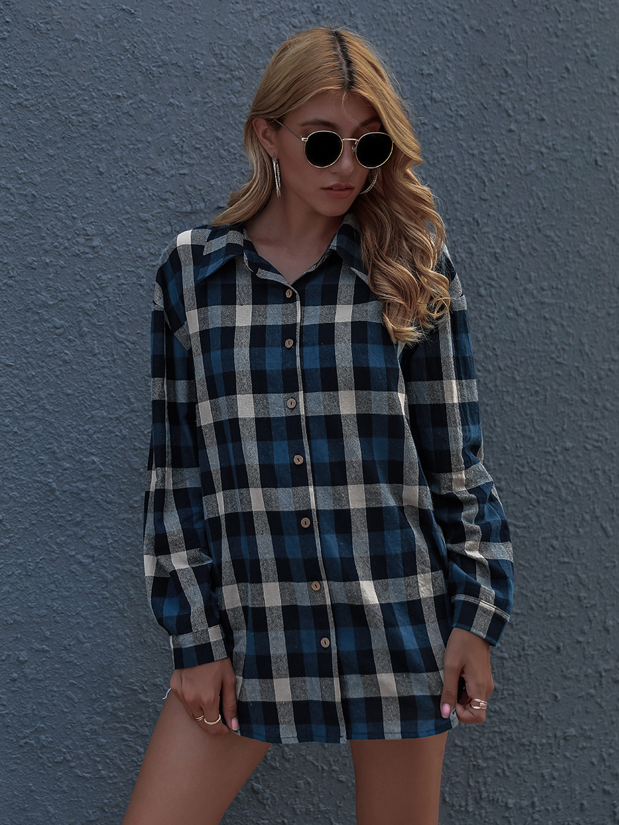 hot sale autumn and winter new single-breasted long-sleeved blue plaid cardigan jacket NSAL1924