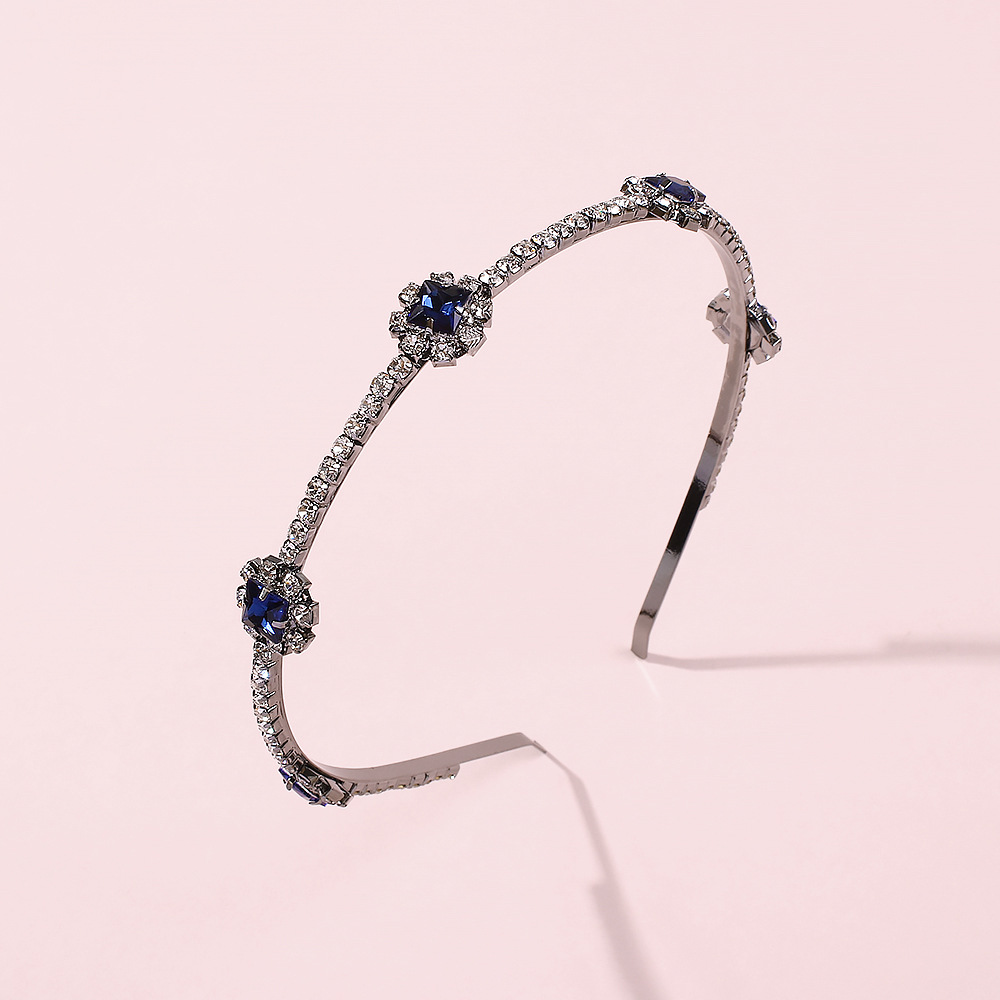 fashion trend new retro blue diamond hair band hot-selling personality wild bride hair accessories wholesale niihaojewelry NHMD223294