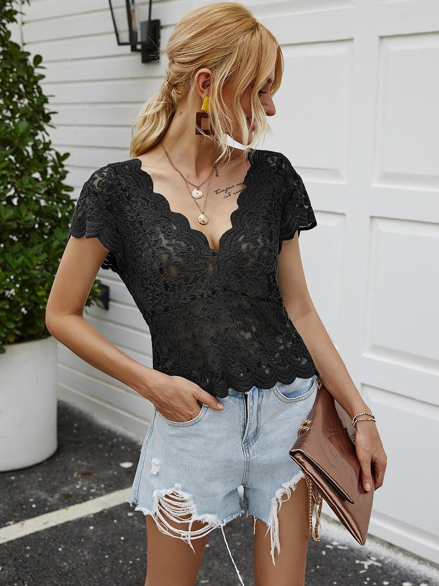 V-neck short-sleeved lace sexy short T-shirt NSAL2872