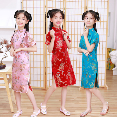 Children's cheongsam retro girls stage performance chorus Princess Dress qipao dress for kids