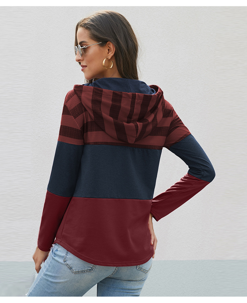 loose design hoodie pullover long-sleeved contrast sweater NSSI2560