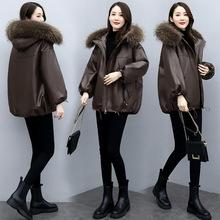 冬裝pu皮衣棉服女2020年新款女韓版寬松棉衣減齡短款加厚外套ins