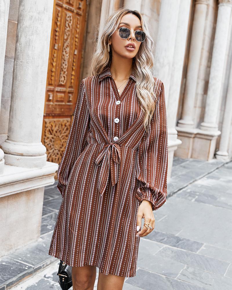 autumn and winter women's new style hot style classic striped shirt dress  NSKA272