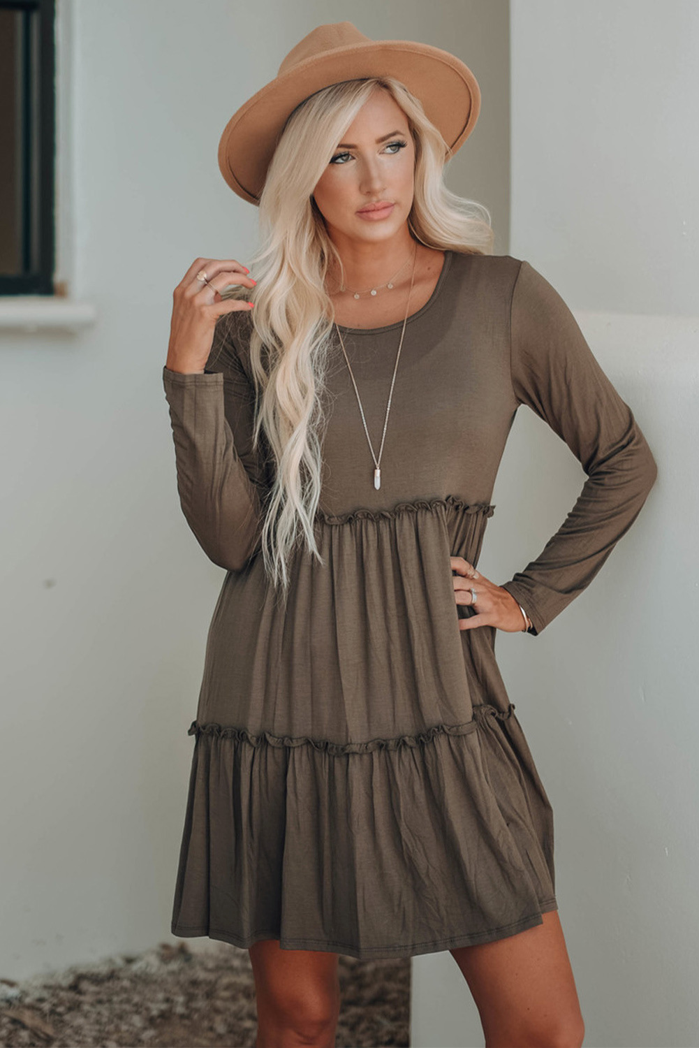 fall/winter large size printing casual mid-length V-neck long-sleeved dress NSSI2350
