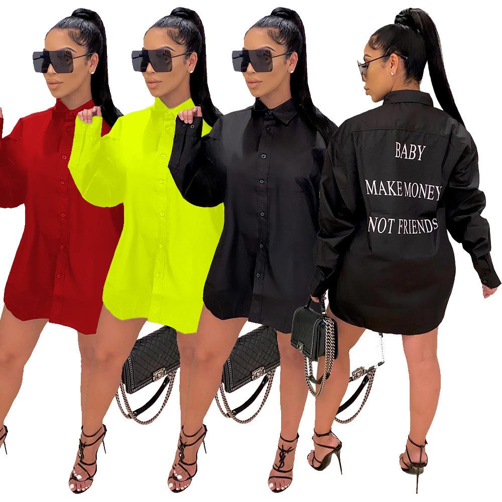 跨境亚马逊秋季爆款字母长袖连衣裙 欧美时尚休闲翻领女式中裙潮