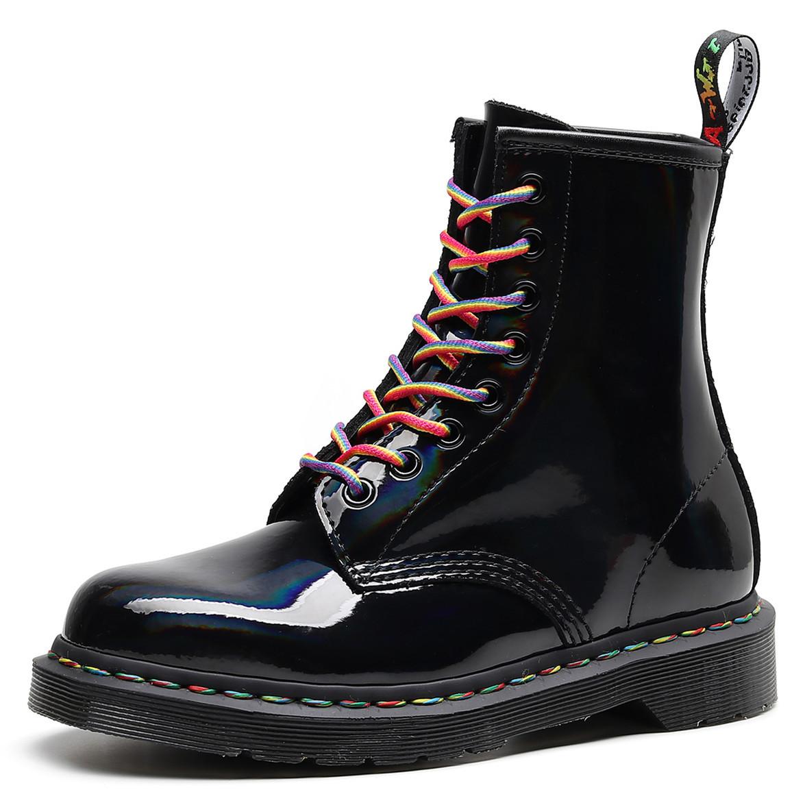 欧美1460马丁靴彩虹漆皮英伦风镜面渐变短靴镭射真皮男女靴子潮流
