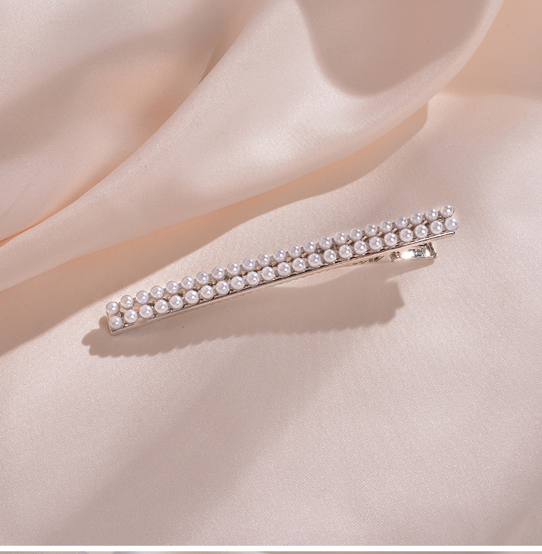 pearl hairpin retro simple wild word clip duckbill clip exquisite cute sweet side clip hairpin wholesale nihaojewelry NHWF223625