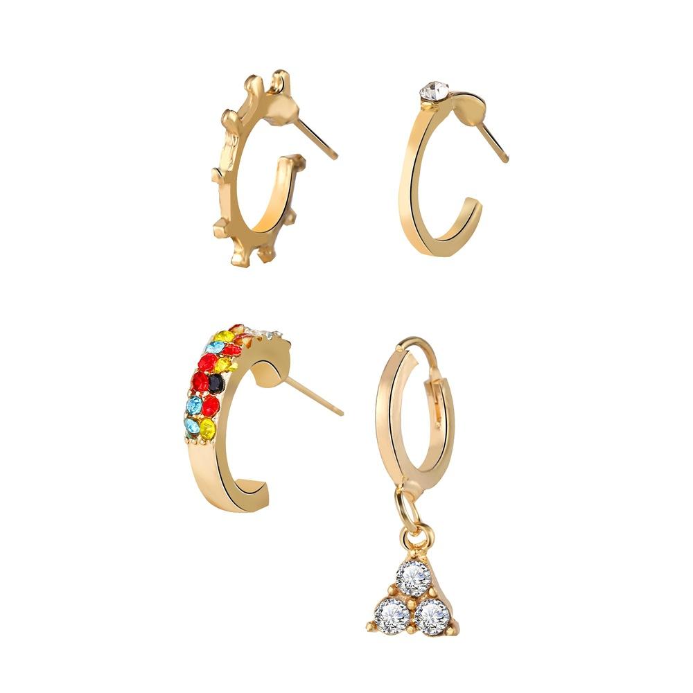hot sale color zircon triangle earrings set 4 sets of creative retro alloy earrings wholesale nihaojewelry NHPJ219323
