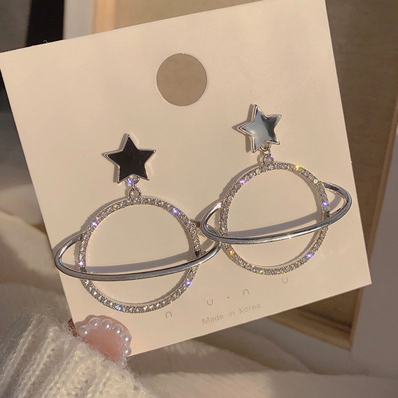 Korean fashion  rhinestone planet earrings drop oil earrings femininity wholesale nihaojewelry NHXI229783