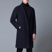 Новинка 2020 года, осенне-зимнее новое корейское мужское шерстяное шерстяное пальто, повседневное пальто средней длины, тонкая однотонная ветровка, мужская