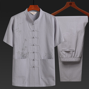Chinese Tang suit for Men cotton and hemp men T-shirt