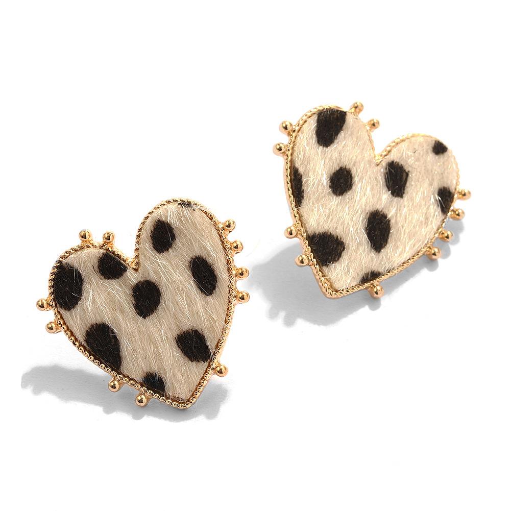 retro peach heart leopard earrings  NHJQ284951