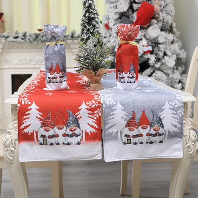 Tablecloth table cloth table cover Christmas ornaments red and gray cartoon printing table Festival hotel restaurant forest Man Doll table flag