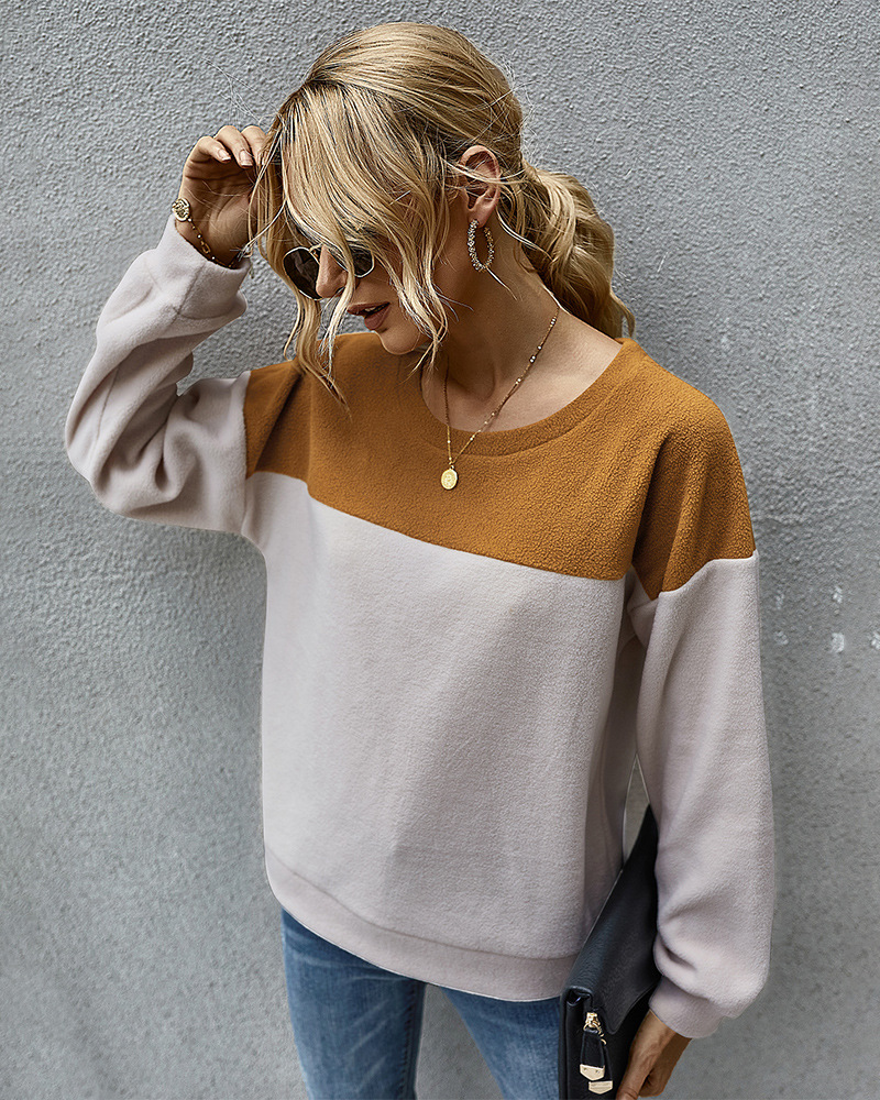 simple color matching sweater long-sleeved T-shirt wholesale NSKA295