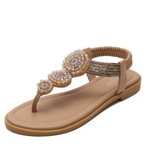 Large size sandals women Bohemian Roman flat bottom fairy beach shoes