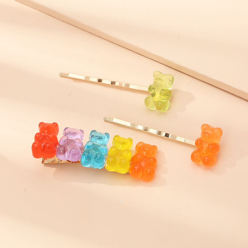 New Koo Bear Hairpin Candy Color Resin Cheap Hairpin Wholesale NHNZ209736