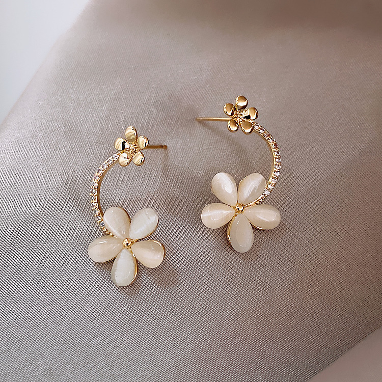 925 Silver Needle Korean Opal Flower Fashion New Trendy alloy Earrings NHXI241848