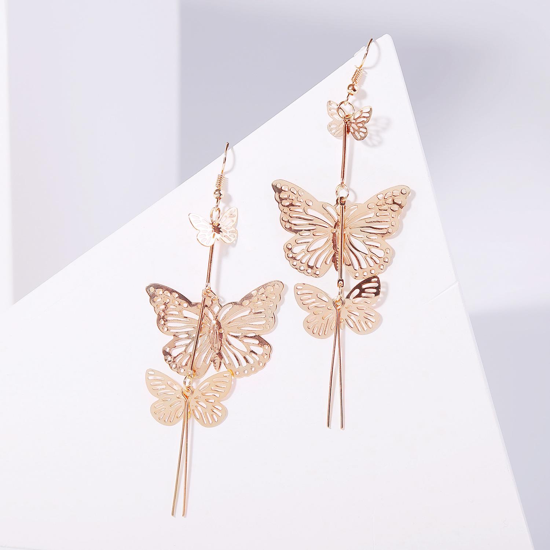 Nihaojewelry Simple Korean Hollow Butterfly Gold Earrings NHJJ199342