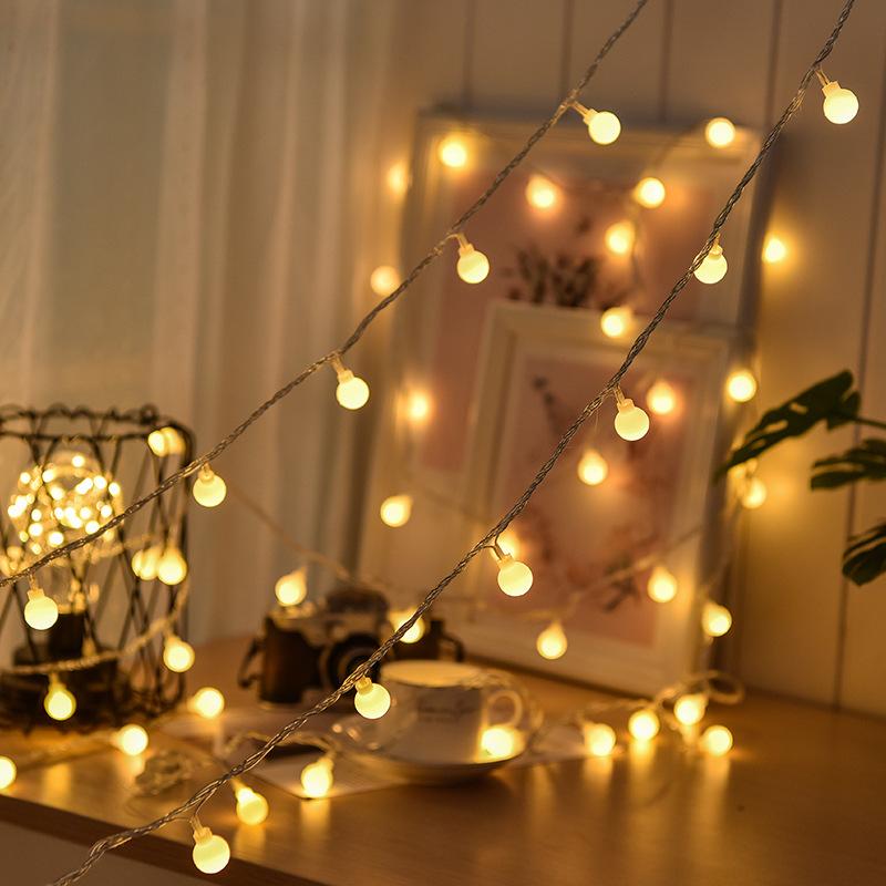 2020款網紅圓球燈串圣誕節日裝飾彩燈主播房間宿舍裝飾LED小彩燈