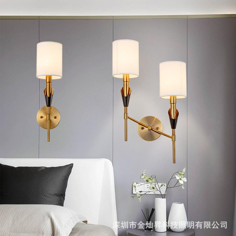 美式简约现代壁灯轻奢客厅卧室床头布罩仿全铜电视背景墙双头灯具