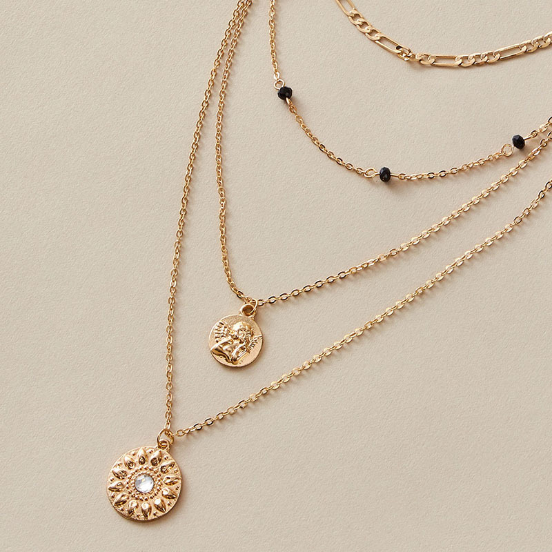 retro simple alloy multilayer element angel necklace pitted disc pendant necklace wholesale NHGY257434