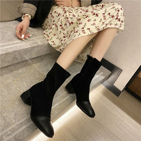 705-600 of 2020 new female take thick with short boots with the spring and autumn period and the single thin boots stretch boots boots fashion boots