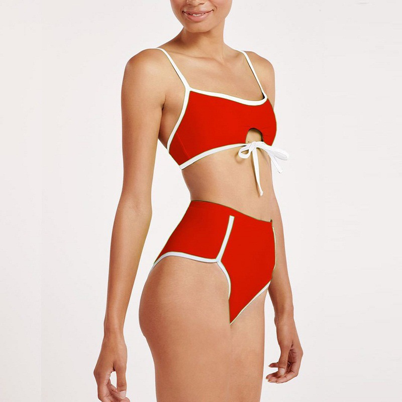 women's swimsuit solid color sexy knotted high waist bikini  NSHL3326
