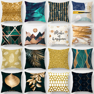 18'' Cushion Cover Pillow Case Nordic modern abstract gold pillow cover luxury sofa cushion cover customized
