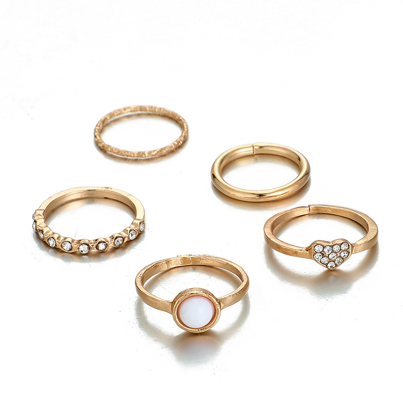 New jewelry fashion trend popular pearl peach heart diamond love ring 5-piece joint ring wholesale nihaojewelry NHGY224574
