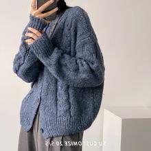 復古韓版寬松雜色毛衣女外穿洋氣短款慵懶單排扣圓領針織上衣批發