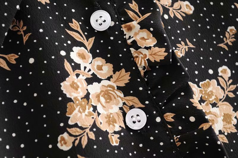 sexy long-sleeved lapel floral shirt  NSAM4223