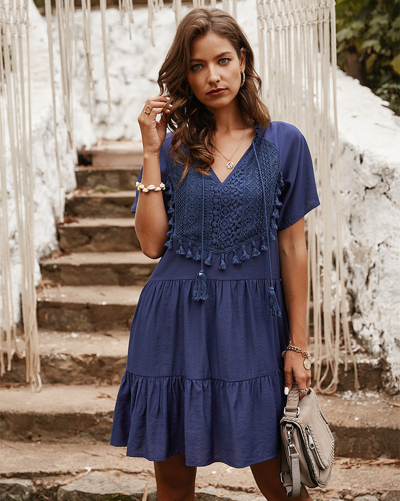 summer new product lace stitching pure color V-neck lady dress NSKA1031