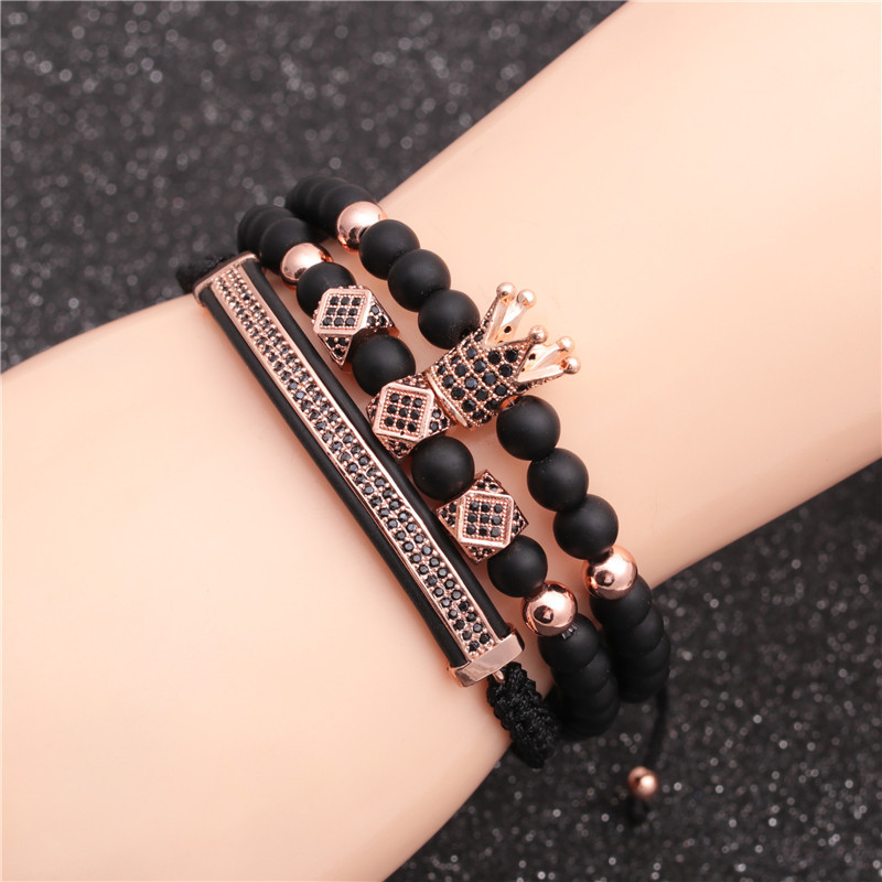 New hotselling 6MM frosted stone crown threecut round leather strap beaded copper bracelet for women NHYL259166