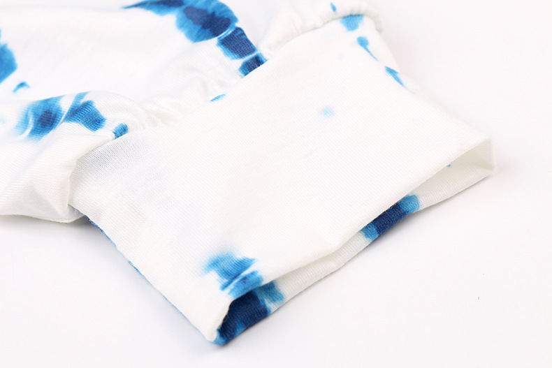 new women's tie-dye printing casual long-sleeved shorts suit home service NSKX5978