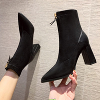 3090-1 in Europe and the sexy pointed Martin boots thick with joker front zipper single show thin short boots boots elastic thin boots