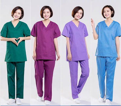 Hospital doctor clothes, operating clothes, work clothes, men and women Hospital doctor cotton nurses suits, long short sleeve medical uniforms