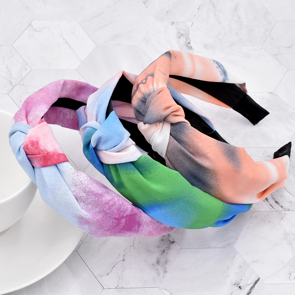 rainbow ink color fabric knotted headband NHCL280633