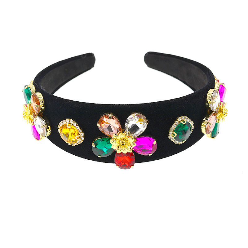 Fabric broad-edged hair band baroque hairpin headband for women Korean crystal color sweet non-slip pressure hair accessories NHNT203525