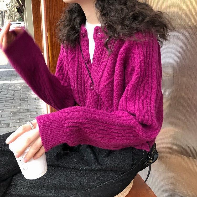 秋冬新款慵懒韩版文艺针织毛衣开衫女宽松外穿外套女洋气圆领短款