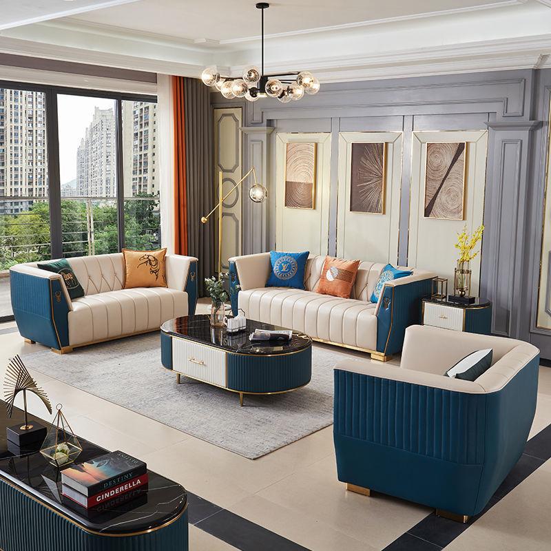 后现代轻奢真皮沙发大小户型样板间美式三位欧式别墅真皮沙发组合