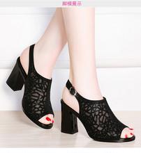 夏季凉鞋女粗跟2020新款女鞋韩版中年妈妈鞋水钻高跟百搭女士凉靴