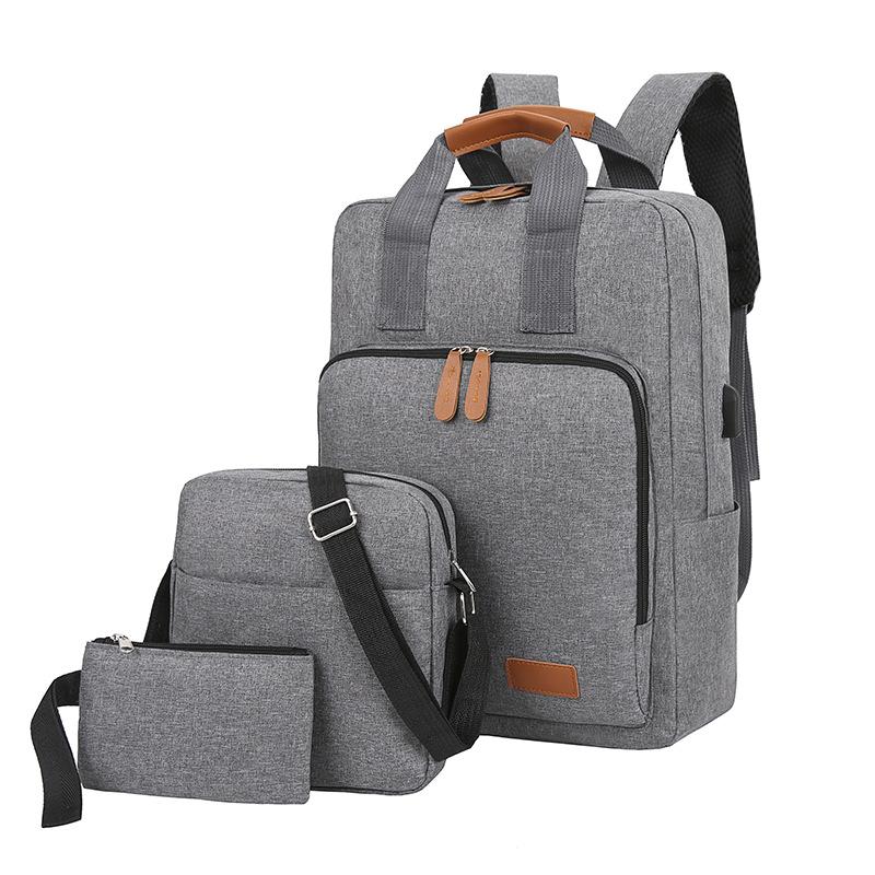新款双肩包三件套韩版旅行包爆款电脑背包中学生书包厂家批发