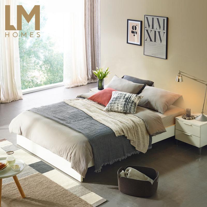 一件代发矮床落地床架北欧实木地台储物床日式榻榻米无床头民宿公