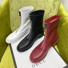 2020马丁靴女秋冬鬼帝白色女靴前拉链瘦瘦靴网红短靴女大小码靴子