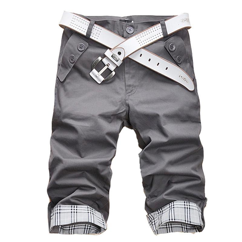 男装批发时尚2020格子贴布包边男士休闲裤5分裤短裤K06