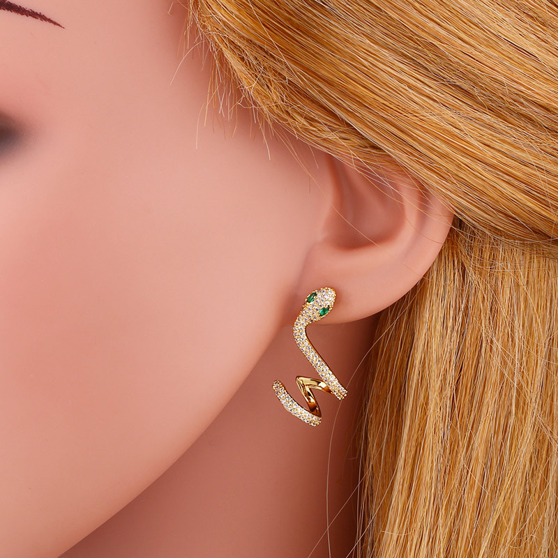 fashion creative micro-set zircon snake earrings girls earrings simple temperament snake earrings wholesale nihaojewelry NHAS218894