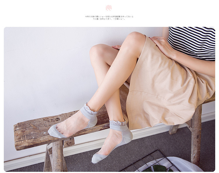 summer women's socks wholesale cotton bottom ladies glass silk short stockings manufacturers wholesale fashion lace crystal silk stockings NHFN216591